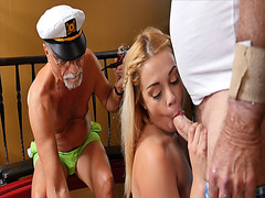 Kenzie Green giving Glenn a hot deep throat blowjob