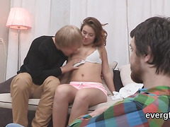 Flat broke lover lets foxy friend to drill his exgf for hard cash
