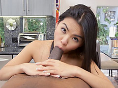 Asian babe gets fucked by big black dick