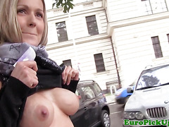 Busty pickedup eurobabe rides cock outdoors