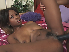 Black babes having wild lesbian sex with the strapon
