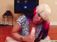 Chubby emo ebony playing with a white cock