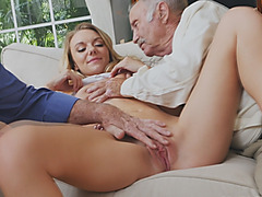 Horny blonde slut loves to suck old dicks while she is being watched by other people