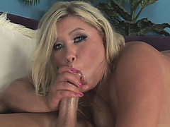 Fat blonde Kacey gives sloppy blowjob and gets pussy plundered