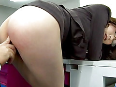 Sweet Ibuki enjoys cock from behind while at work