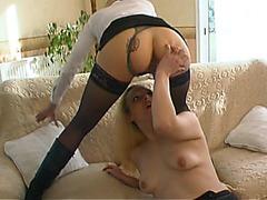 Euro lesbian babes 69 pussy licking milking love juice