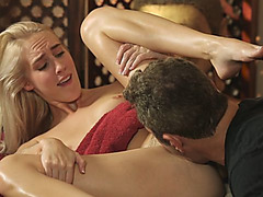Stunning blonde worships hard dick after getting masssaged