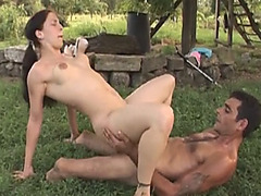 Legless man gets lucky outdoors and fuck a pale brunette babe