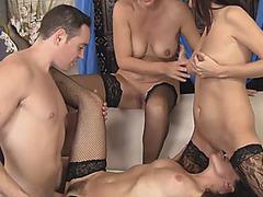 Amazing Cougars Fucking Orgy Group Guy Blowjob Foursome