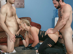 Big tittied Phoenix got her mouth, pussy and big juicy ass filled with big cocks
