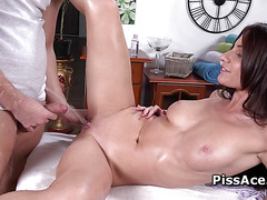 Horny guy pees in open mouth and pussy of hot brunette