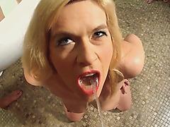 Euro Blonde Golden Shower Orgy Sucking Cocks Big Tits