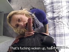 Busty blonde bangs big cock fake cop in her bus