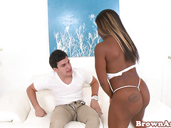 Pierced ebony plays with white cock