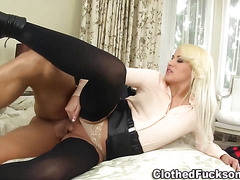 Blonde glam whore spunked