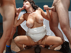 Three horny men pounded Veronica's pussy and ass hardcore