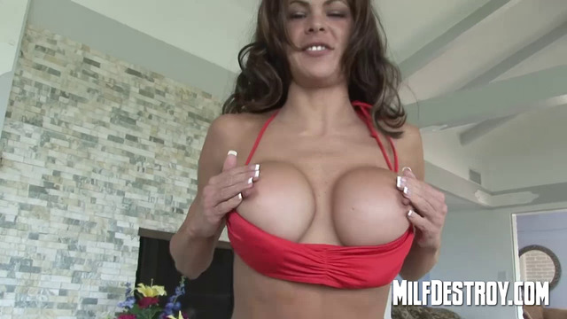 Porn sexy big fake boobs by pool