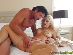 Babe rides cock and rubs