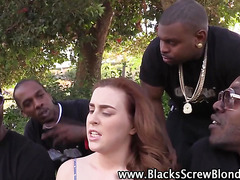 Slut takes 4 black cocks