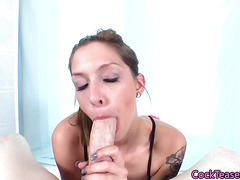 Ballsucking cock teasing model giving head