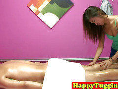 Asian massage beauty rides clients cock