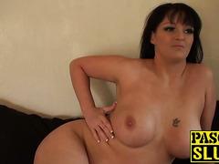 British brunette amateur shows her massive natural tits