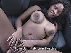 Magnificent ebony slut enjoys fucking and sucking in a cab