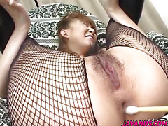 Aya gets her hairy cunt and tight asshole toyed