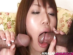 Threesome starring Arisa playing with big toys and hard dicks