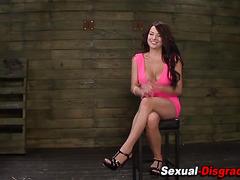 Tied bdsm slut gets cum