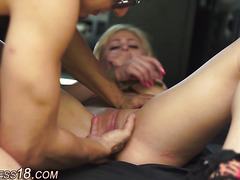 Tied up blonde bdsm fucks
