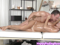 Busty massage model pussyfucked doggystyle