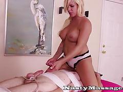 Bdsm masseuse gives only rough handjobs