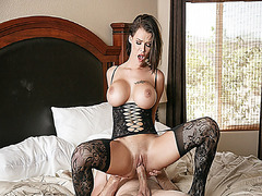Peta Jensen goes on top of Bill Bailey like a cherry