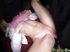 Public slut eaten out
