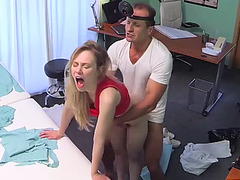 Blonde patient fucks for job