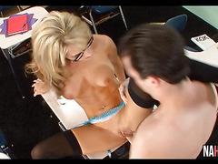 Blonde MILF Rides Cock In Class Sarah Jessie