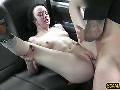 Damn brunette Spanish hot slut trades blowjob for the ride