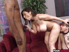 Cuckold watching his Hotwife Sara Jay banging with a big black cock