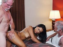 Petite latina babe Nikki Kay fucks with the oldies