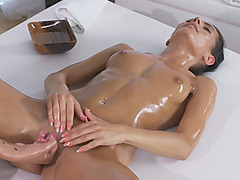 Needy brunette wife hired massage girl to finger fuck her pussy