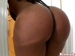 Ebony booty babe with pierced nipples fucked