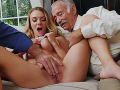 Sexy blonde slut Molly Mae fucks 3 aged cocks