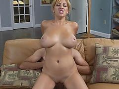 Blonde milf maid spraying cum on her big tits