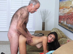 Petite slut Michelle Martinez bangs with 2 old men