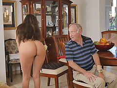 Teen Brunette Tamale Riding Old Guys On Couch