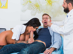 Candy won't mind her sucking and riding Danny's big cock