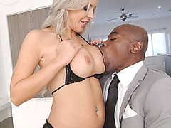 Busty blonde chick riding big black cock cowgirl