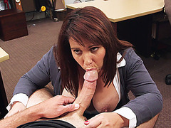 Juicy big tits MILF spread her legs inside the pawnshop and enjoys hardcore fucked