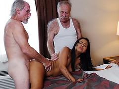 Gorgeous babe Nikki Kay pounded by 2 old men